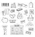 Money banking services shopping sketch symbols vector image