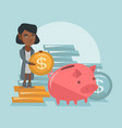 african manager putting a coin in a piggy bank vector image vector image