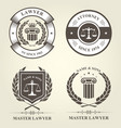 attorney and lawyer bureau emblems and badges vector image vector image