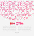 blood donation concept with thin line icons vector image
