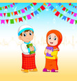 boy and girl is holding al quran vector image vector image