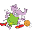 Cartoon Basketball Elephant vector image vector image