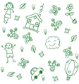 child drawing home doodle art vector image vector image