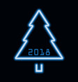 christmas tree blue neon sign 2018 vector image vector image