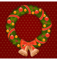 christmas wreath 1 vector image vector image