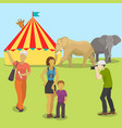circus animals and people taking pictures vector image