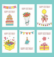 creative happy birthday cards collection hand vector image