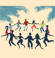 cuban rueda or group of people dancing salsa in a vector image vector image