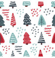 cute christmas trees seamless pattern vector image vector image