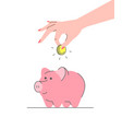donation concept with cute pink piggy bank vector image vector image