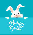 easter bunny with happy easter text vector image vector image