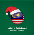 flag of malaysia merry christmas and happy new vector image