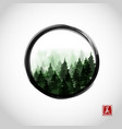 green misty mountain trees in black enso zen vector image vector image