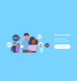 group mix race business people chat bubble vector image