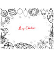 hand drawn of christmas ornaments frame on white b vector image vector image