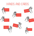 Hands holding cards for advertising set vector image vector image