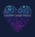happy new year heart colored modern vector image vector image