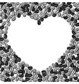 heart shaped frame coffee beans background vector image