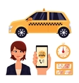 Icon set with the service taxi dispatcher and vector image vector image