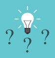 light bulb question marks vector image vector image