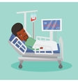 Man lying in hospital bed vector image vector image