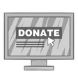 Online donation icon black monochrome style vector image vector image