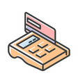 outlined icon pos-terminal with credit card vector image