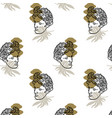 pattern with hand drawn flat antique head vector image vector image