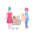 people hoarding purchase couple characters vector image vector image