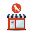 pet shop with dog up hand vector image