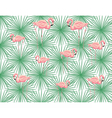 pink flamingos and palm leaves vector image vector image