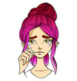 pink-haired girl face sad facial expression with vector image