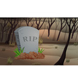 Scene of graveyard at night vector image vector image