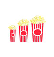 set of full red-and-white striped popcorn big vector image