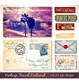 travel vintage postcard design with antique look vector image vector image