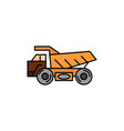truck trailer transport construction flat color vector image