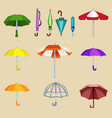 umbrella sifferent design for rain weather vector image
