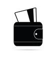 wallet black icon vector image vector image