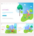 weekend healthy spending time in city park vector image vector image