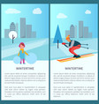 wintertime girl and skier vector image vector image