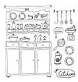 Kitchen set in Design elements of kitchen vector image