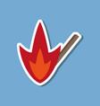 paper sticker on stylish background match fire vector image
