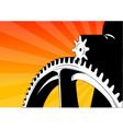 cogwheel on the orange background vector image