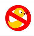 Banning sign Yellow rubber duck for bathing vector image