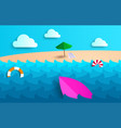beach background with umbrella ball swim ring vector image