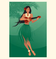 beautiful and smiling hawaiian girl wearing skirt vector image