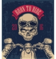 Biker driving a motorcycle rides and skull with vector image vector image