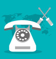 call center telephone world support vector image