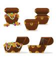 cartoon color treasure chest icon set vector image vector image