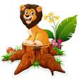 cartoon lion on tree stump vector image